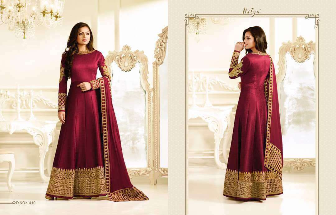 Buy Embroidered Mulborne Silk Maroon Color Party Wear Designer Suit ...