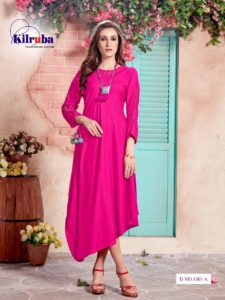 Pure Cotton Rayon Dyed Rani Color Western Wear Gown Kurti with Latkan and  Necklace 695a5cbb4