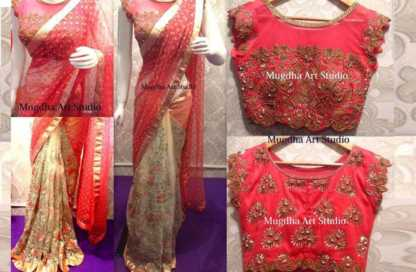Red Color Georgette Party Wear Saree with Banglori Blouse