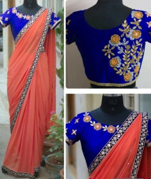 Orange Color Georgette Party Wear Fancy Saree with Banglori Silk Blouse