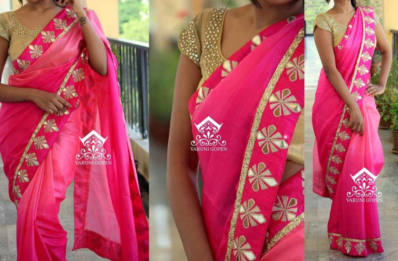 Pink Color Pedding Georgette Party Wear Fancy Saree with Banglori Silk & Mirror Work Blouse