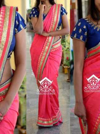 Pink Color Georgette Party Wear Fancy Saree with Banglori Silk Blouse