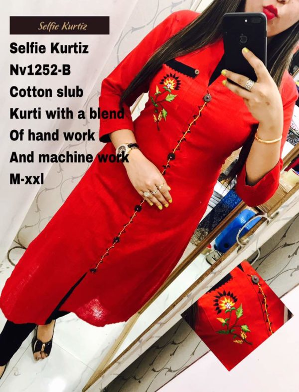Cotton Slub Red Color Selfie Kurti with a blend of Hand Work and Machine Work