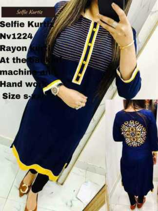 Rayon Blue Color Selfie Kurti at the back of Machine and Hand Work