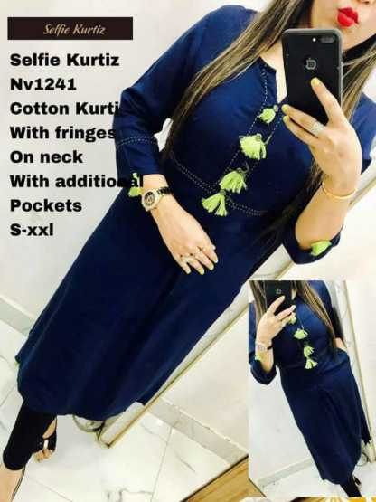 Cotton Blue Color Selfie Kurti with Fringes on Neck with Additional Pockets