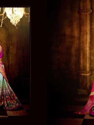 Pink White Color Banarasi Silk Designer Lehenga