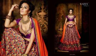 Purple Orange Color Banarasi Silk Designer Lehenga