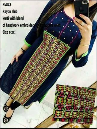 Rayon Slub Blue Color Selfie Kurti with Blend of Handwork Embroidery and Machine Work