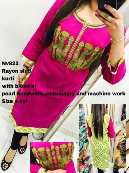 Rayon Slub Pink Color Selfie Kurti with Blend of Pearl Handwork Embroidery and Machine Work