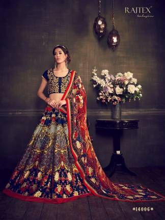 Red Navy Blue Color Banarasi Silk Designer Lehenga