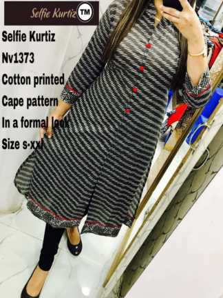 Black Color Cotton Printed Selfie Kurti in a Formal Look with Cape Pattern