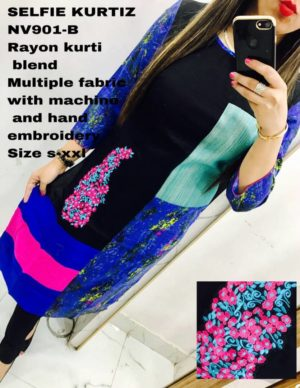 Blue Multicolor Rayon Fabric Selfie Kurti with Machine Work, Hand Work, Embroidery Work