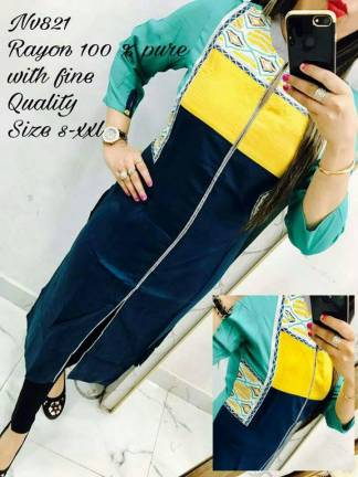 Blue Yellow Multicolor Pure Rayon Selfie Kurti