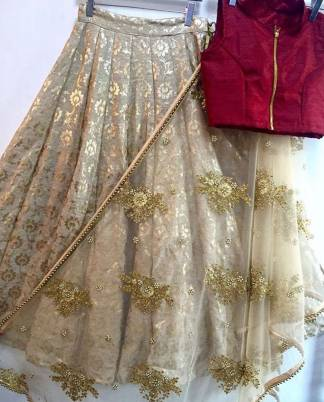 Navratri Special Designer Lehenga with Red Crop Top and Dupatta