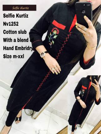 Navy Blue Color Cotton Slub Selfie Kurti with a Blend of Hand Embroidery