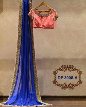Navy Blue Color Party Wear Designer Saree