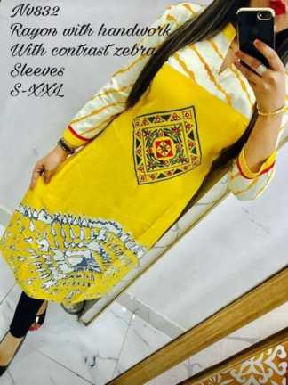 Rayon Yellow Color Selfie Kurti with Hand Work and Contrast Zebra Sleeves
