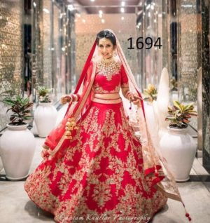 Red Color Wedding Bridal Lehenga Choli in Banglori Silk with Net Dupatta