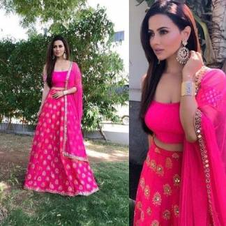 Sana Khan Pink Color Lehengha Choli Banglory With Georgette Dupatta and Lace 1