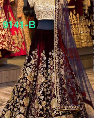 Navy Blue Color Maroon Color Wedding Lehenga Designer Lehenga 1