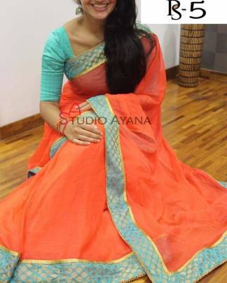 orange color cotton saree - ps5