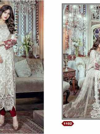 shree fabs embroidered maria b 1102 designer suit in off-white ivory maroon color