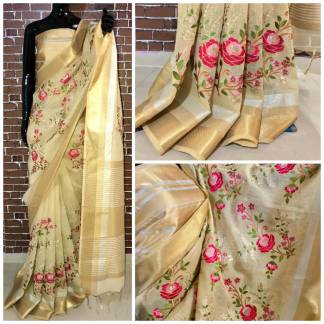 Beige Color Linen Silk Party Wear Embroidered Saree