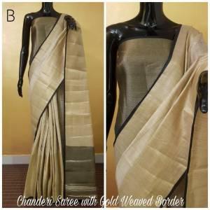 Black And Grey Color Chanderi Party Wear Designer Saree