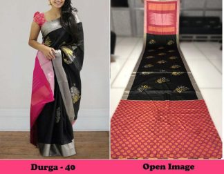 Black And Pink Color Satin Gota Zari Designer Saree