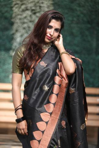 Black Color Banglori Raw Silk Party Wear Designer Saree