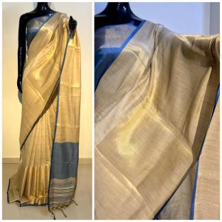 Blue And Grey Color Chanderi Party Wear Designer Saree