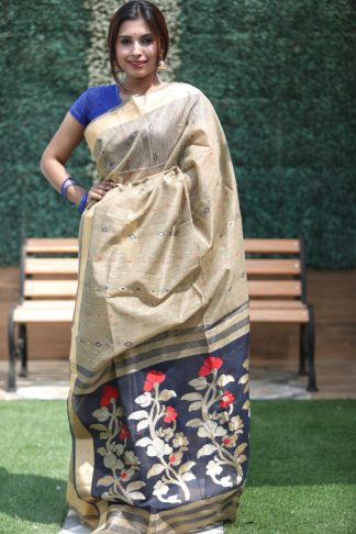 Blue And Grey Color Linen Silk Party Wear Designer Saree
