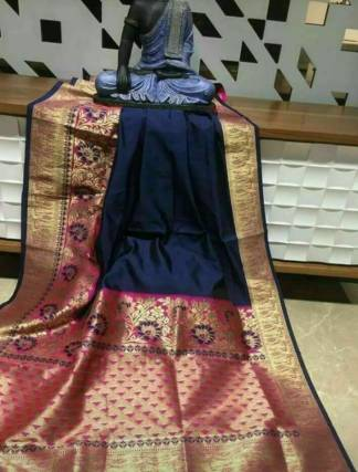 Blue Color Banarasi Silk Party Wear Designer Saree
