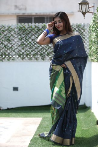 Blue Color Linen Silk Party Wear Designer Saree