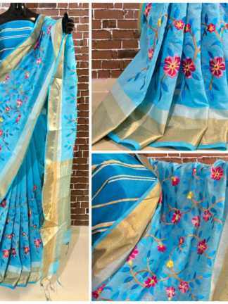 Blue Color Linen Silk Party Wear Embroidered Saree