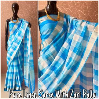 Blue Color Pure Linen Party Wear Designer Saree
