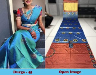 Blue Color Satin Gota Zari Designer Saree