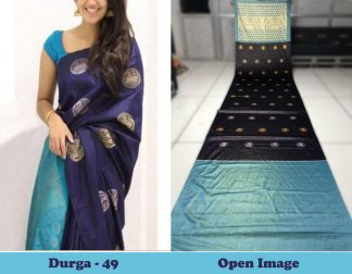 Blue Color Satin Gota Zari Designer Saree1