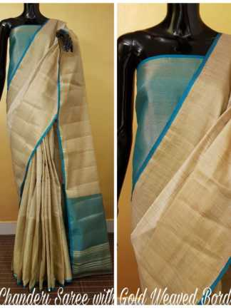 Ferozi And Grey Color Chanderi Party Wear Designer Saree