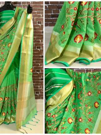 Green Color Linen Silk Party Wear Embroidered Saree