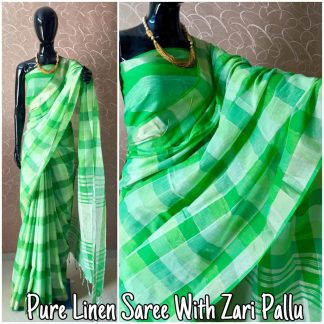 Green Color Pure Linen Party Wear Designer Saree