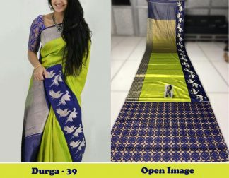 Green Color Satin Gota Zari Designer Saree1