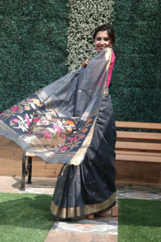 Grey Color Linen Silk Party Wear Designer Saree