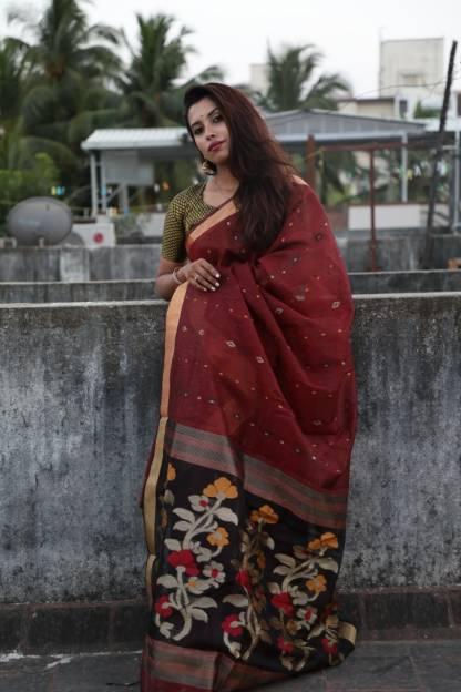 Maroon Color Linen Silk Party Wear Designer Saree