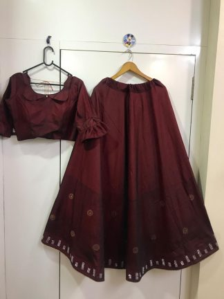 Maroon Color Two Tone Tafeta Silk Party Wear Lehenga