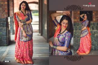Pink And Blue Color Banarasi Silk Party Wear Designer Saree