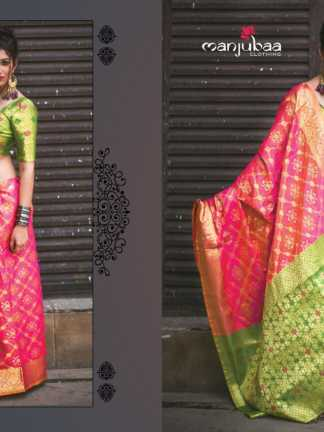 Pink And Green Color Banarasi Silk Party Wear Designer Saree