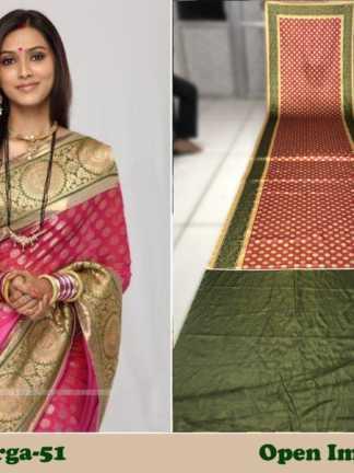 Pink And Green Color Satin Gota Zari Designer Saree