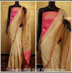 Pink And Grey Color Chanderi Party Wear Designer Saree