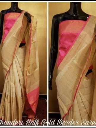 Pink And Grey Color Chanderi Party Wear Designer Saree